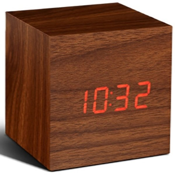 Gingko Gingko Cube Clock Teak Red LED