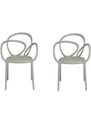 Qeeboo Qeeboo Loop Chair Grijs met kussen Set van 2