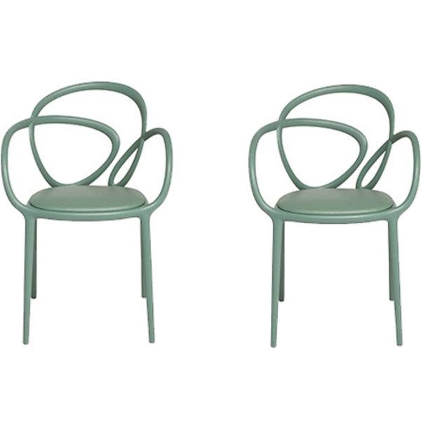 Qeeboo Qeeboo Loop Chair Groen met kussen Set van 2