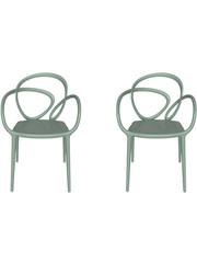 Qeeboo Qeeboo Loop Chair Groen zonder kussen, set van 2
