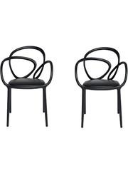 Qeeboo Qeeboo Loop Chair Zwart met kussen Set van 2