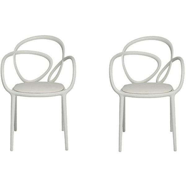 Qeeboo Qeeboo Loop Chair Wit met kussen Set van 2