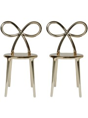 Qeeboo Qeeboo Ribbon Chair Metallic Gold set van 2