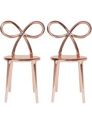 Qeeboo Qeeboo Ribbon Chair Metallic Pink Gold set van 2