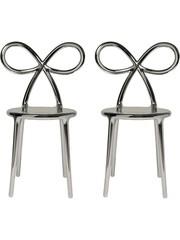 Qeeboo Qeeboo Ribbon Chair Metallic Silver set van 2