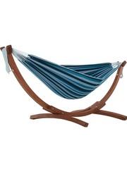 Vivere Vivere Dubbele Katoenen Hangmat met Massief Houten Standaard - Blue Lagoon