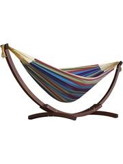 Vivere Vivere Dubbele Katoenen Hangmat met Massief Houten Standaard - Tropical