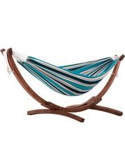 Vivere Vivere Sunbrella - Hangmat Dubbel met Massief Houten Standaard - Surfside