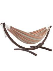 Vivere Vivere Sunbrella - Hangmat Dubbel met Massief Houten Standaard - Cameo