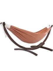 Vivere Vivere Sunbrella - Hangmat Dubbel met Massief Houten Standaard - Coral