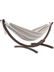 Vivere Vivere Sunbrella - Hangmat Dubbel met Massief Houten Standaard - Dove