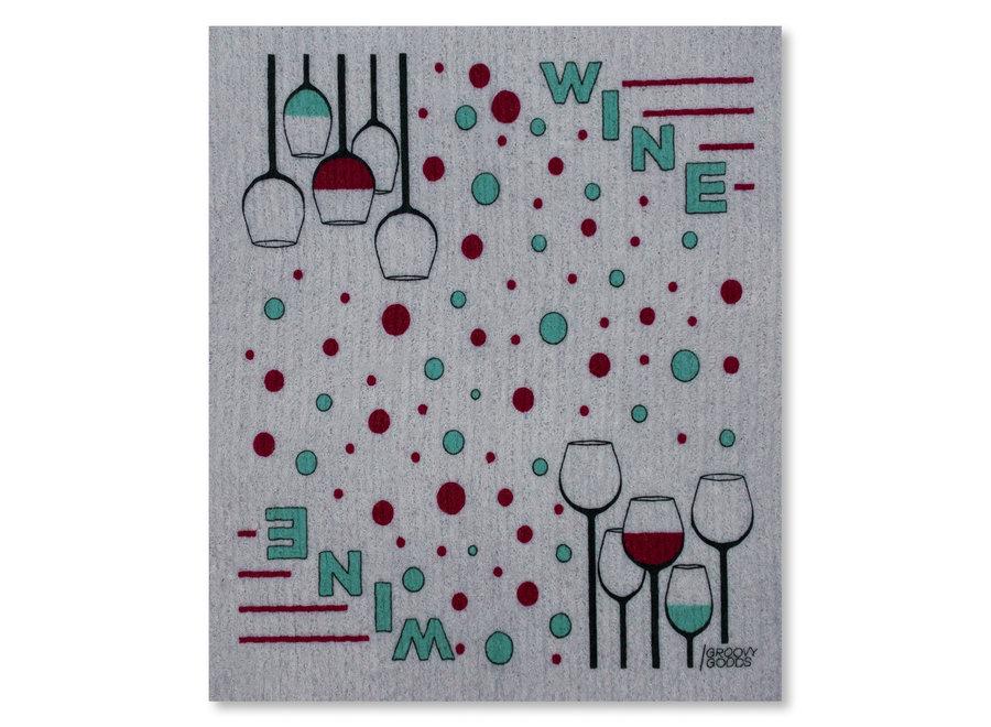 Ökologisches Spültuch in grau, Design Wein