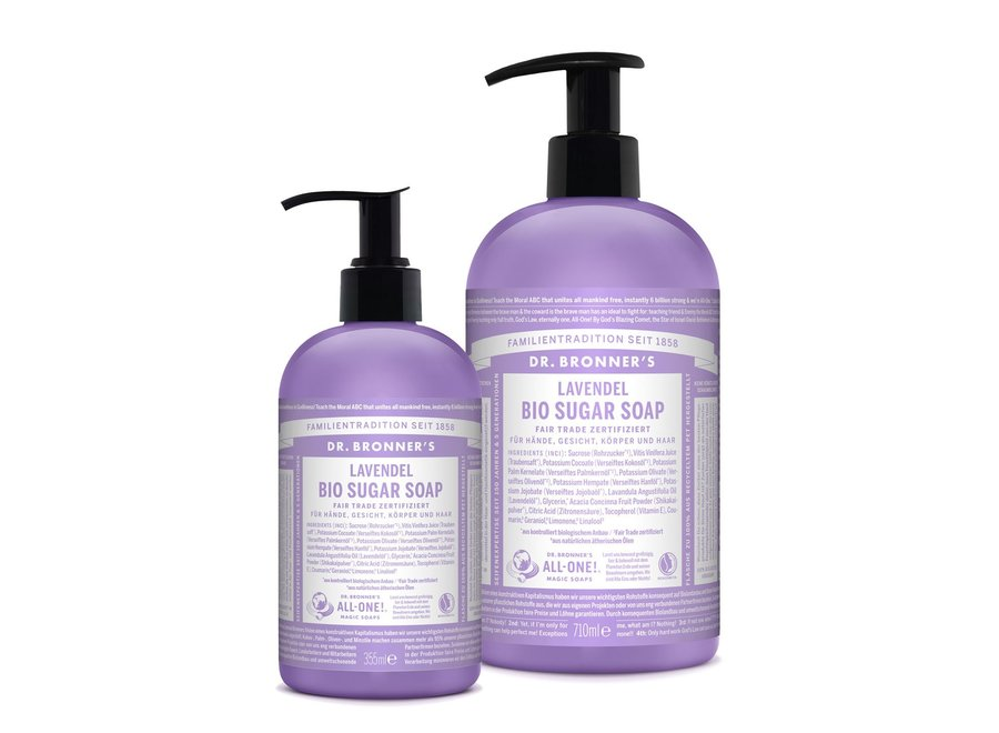 Bio Vegan Sugar Soap Lavendel mit Pumpspender