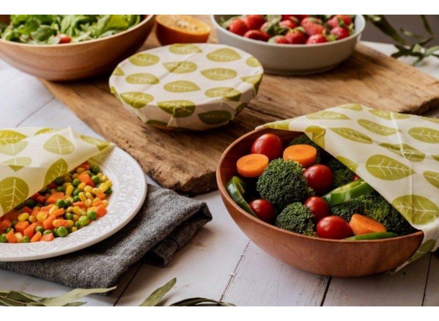 """Vegane Pflanzenwachstücher Quadratisch """"Grüne Blätter"""" 3er Set von nuts"""