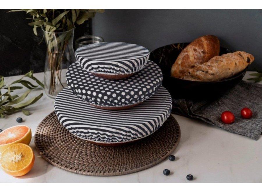 """Textil Schüsselabdeckungen """"Streifen Schwarz/Weiß"""" 3er Set von nuts"""