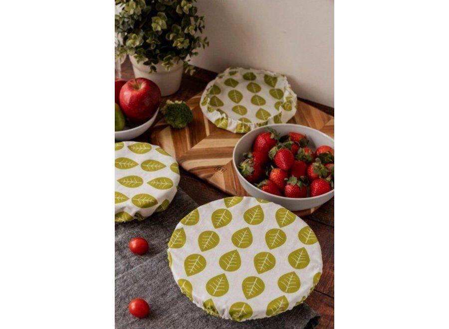 """Textil Schüsselabdeckungen """"Grüne Blätter"""" 3er Set von nuts"""