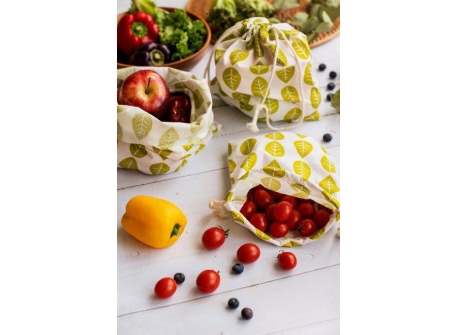 "Obst & Gemüsebeutel ""Grüne Blätter"" 3er Set von nuts"