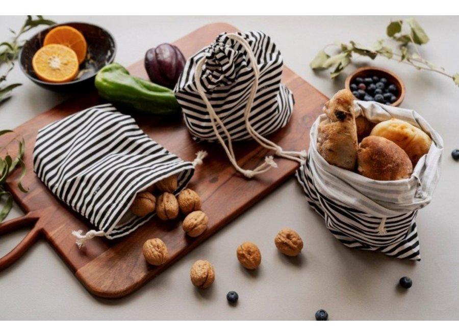 """Obst & Gemüsebeutel """"Streifen Schwarz/Weiß"""" 3er Set von nuts"""