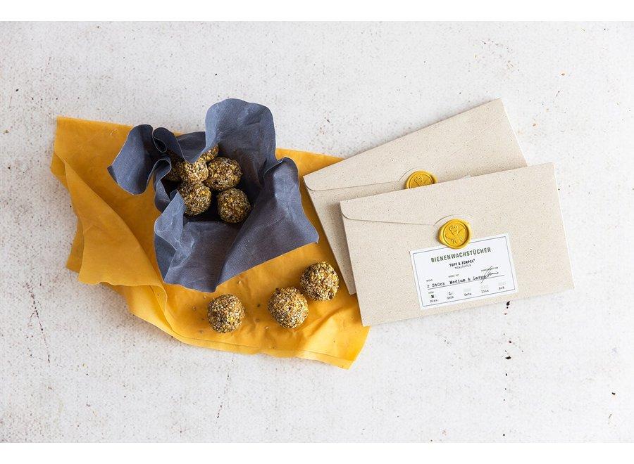 Bienenwachstücher Medium und Large in Blau und Gelb von Toff & Zürpel