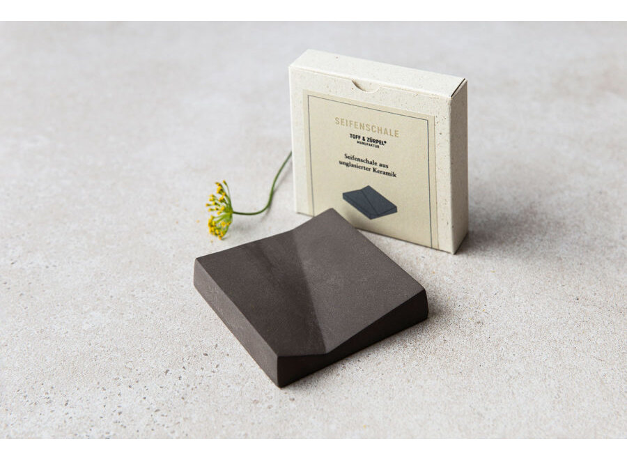 Seifenschale aus Keramik in Schiefer von Toff & Zürpel