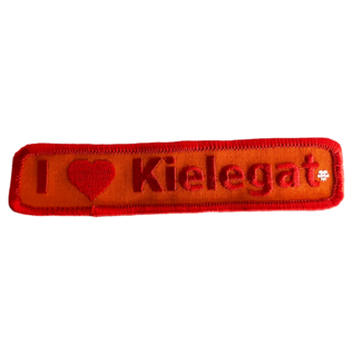 Borduur embleem Kielegat in oranje met rode opdruk