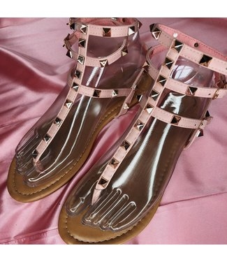 Roze studs sandalen