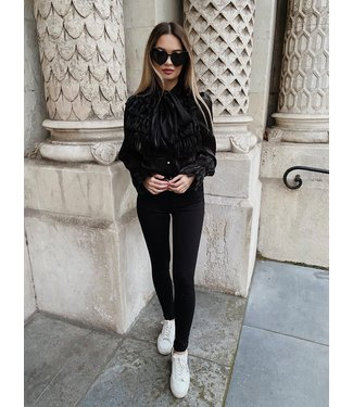 Queen hearts high waisted skinny jeans zwart