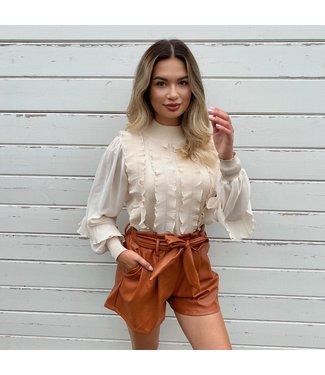 Leather belt short bruin