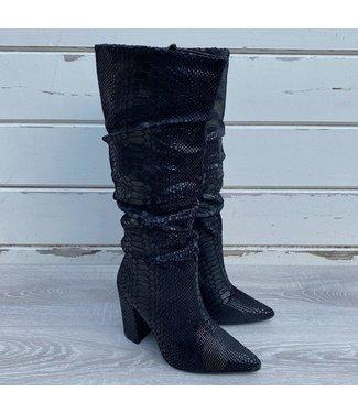 Black snake heel boots