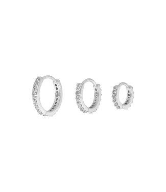 Diamond circle set zilver