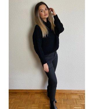 Mara lederlook broek zwart