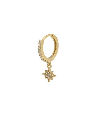 Zirconia star oorbel goud