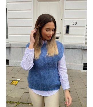 knit debardeur blauw