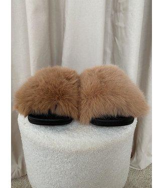 Fluffy slides beige