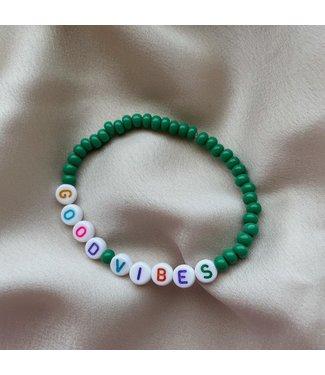 Green good vibes armband