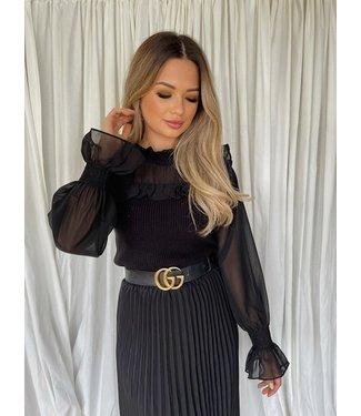 Becca knit blouse zwart