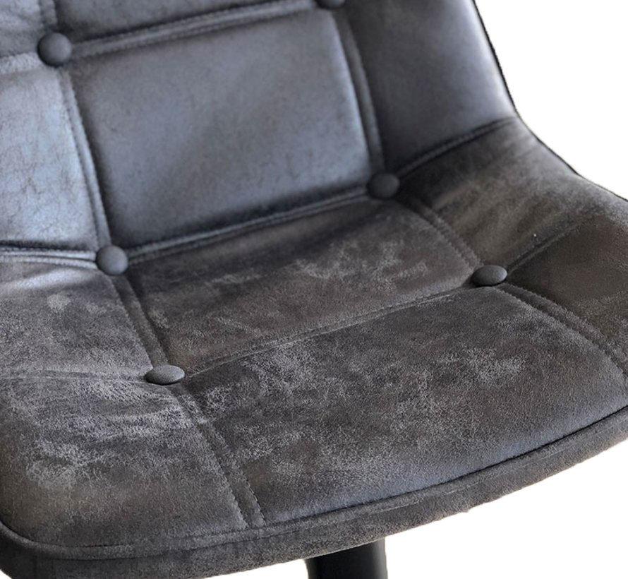 Barhocker Leder Rocky anthrazit höhenverstellbar 59-77 cm