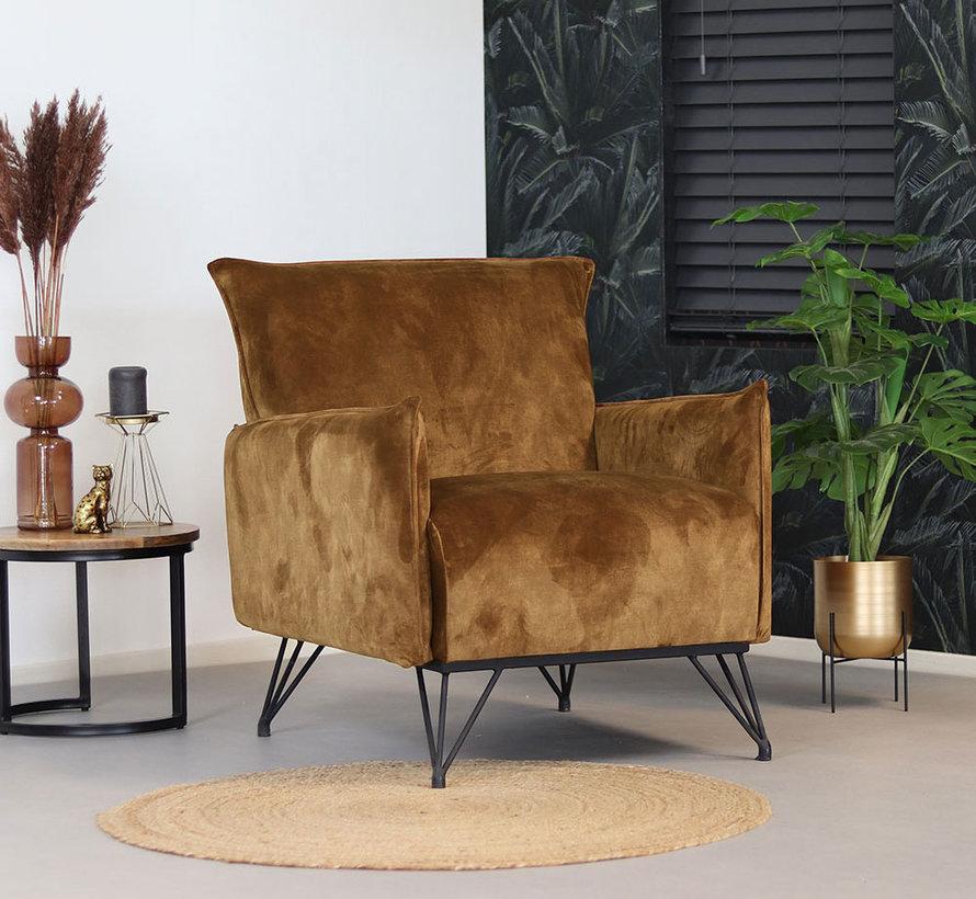 Lounge Sessel Mika Samt ockergelb