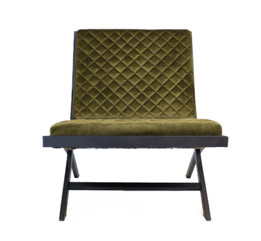 Luxury Design Sessel Madrid Samt olivgrün