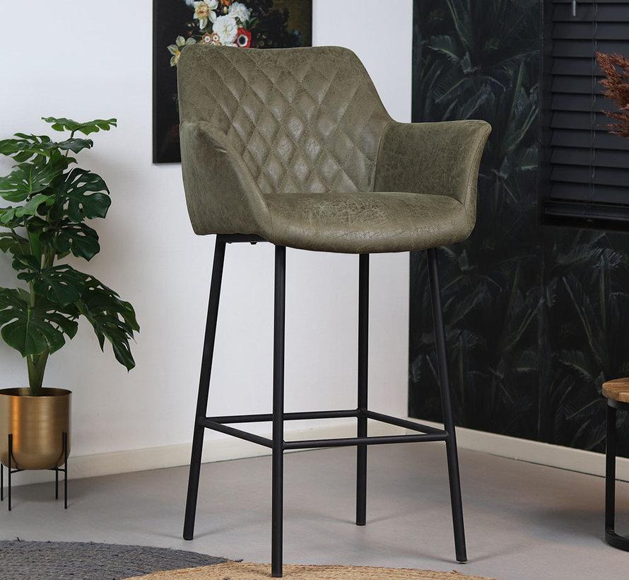 Polsterbarstuhl Club mit Armlehne Eco-Leder olivgrün 78 cm