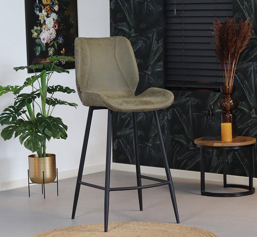 Barstuhl Barrel Eco-Leder olivgrün 69 cm