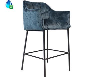 Bronx71 Barstuhl Samt Jayron mit Armlehne blau 82 cm