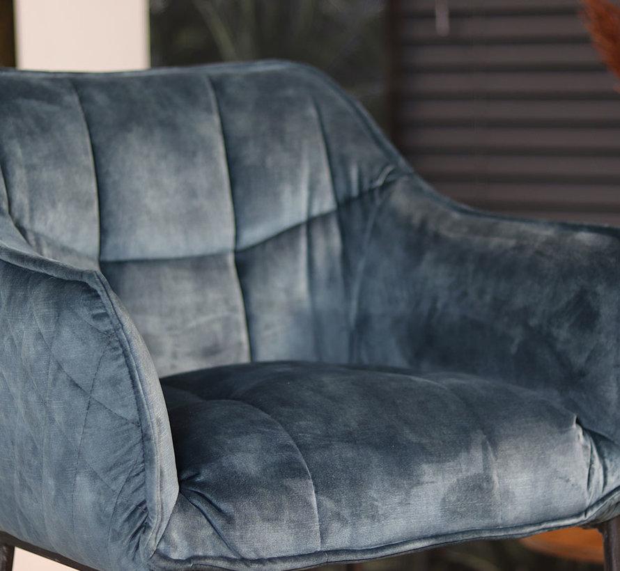 Barstuhl Samt Jayron mit Armlehne blau 82 cm