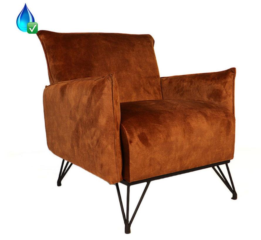 Lounge Sessel Mika Samt rost