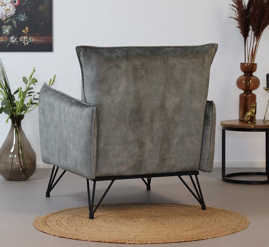 Lounge Sessel Mika Samt grau