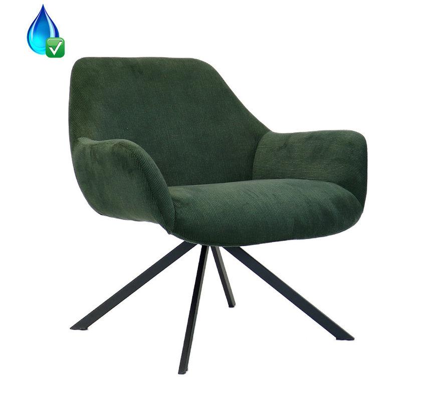Sessel Emily Cord mit Armlehne grün
