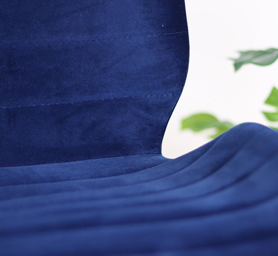 Gastro Barstuhl Samt Toby dunkelblau 71 cm