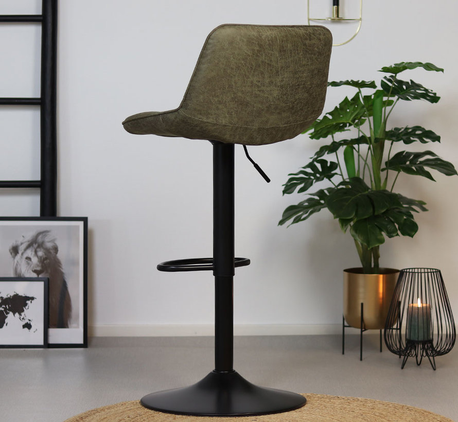 Barhocker Leder Rocky olivgrün höhenverstellbar 59-77 cm