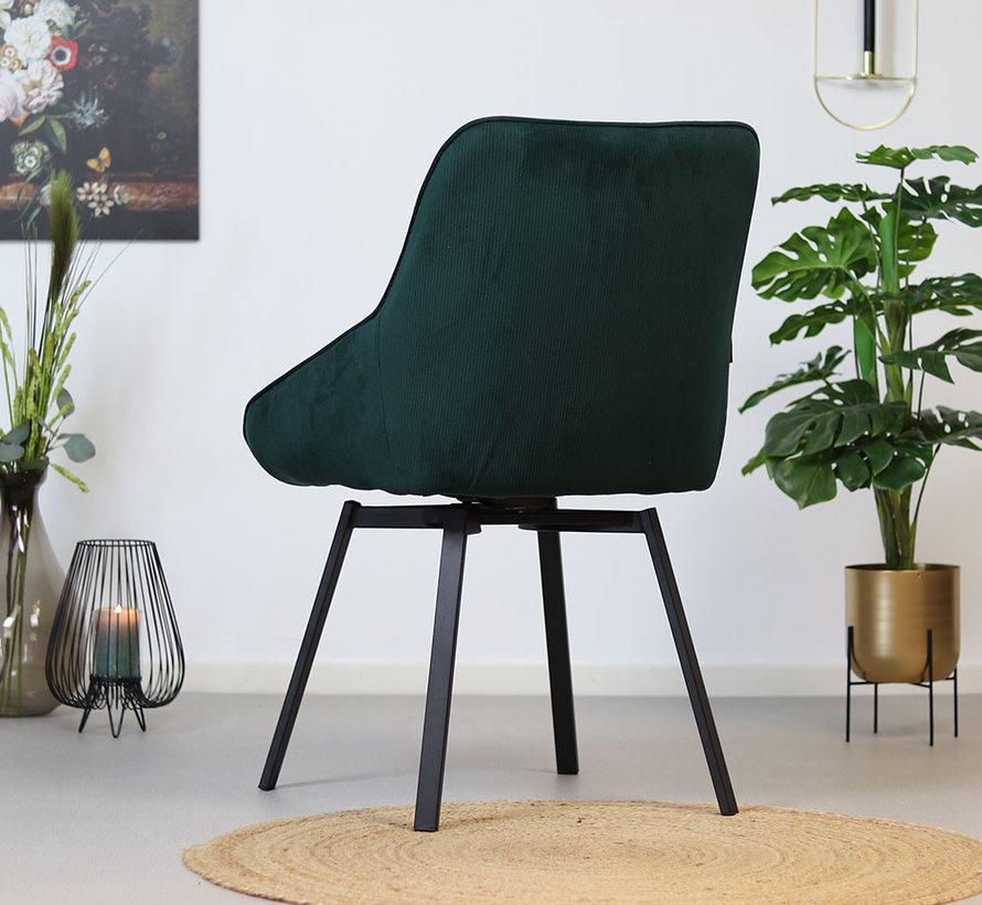 Gastro Stuhl Luna Cord drehbar dunkelgrün