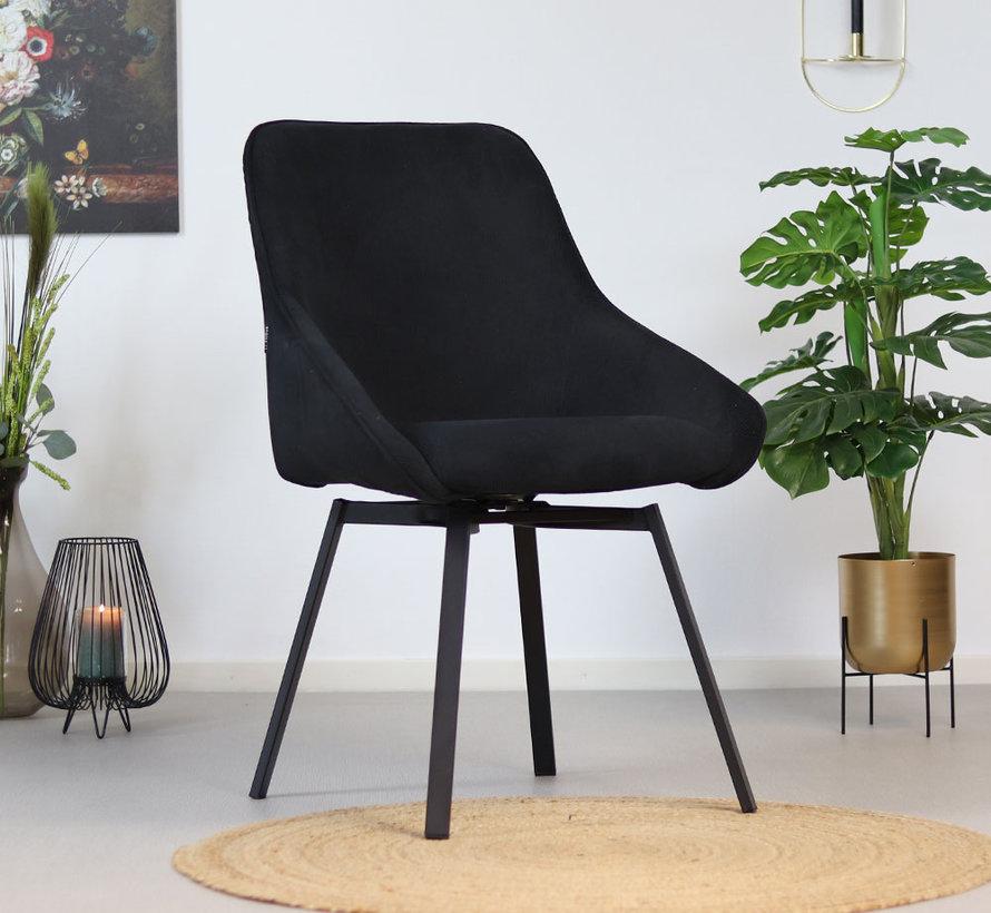 Gastro Stuhl Luna Cord drehbar schwarz